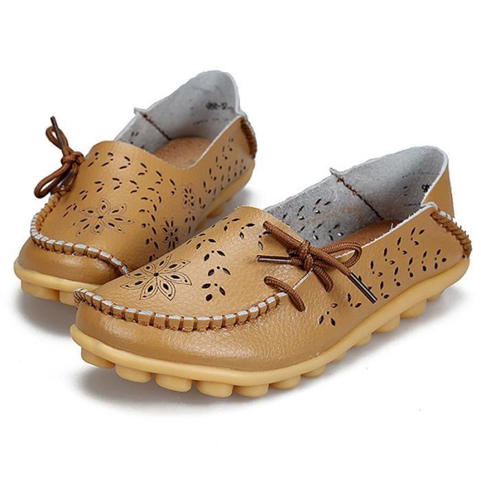 Mocassin Femmes Printemps Ete Mode Classique Plat Chaussure WYS-XZ086Marron43