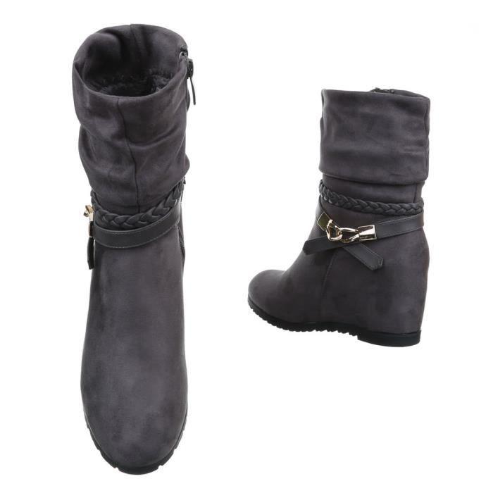 femme botte chaussure semelle à talon compensé Wedges Boots VulGDFc0ri
