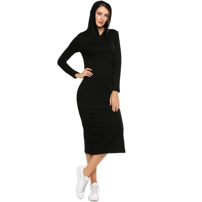 robe de femme à manches longues encolure à capuche Hip Split Bodycon