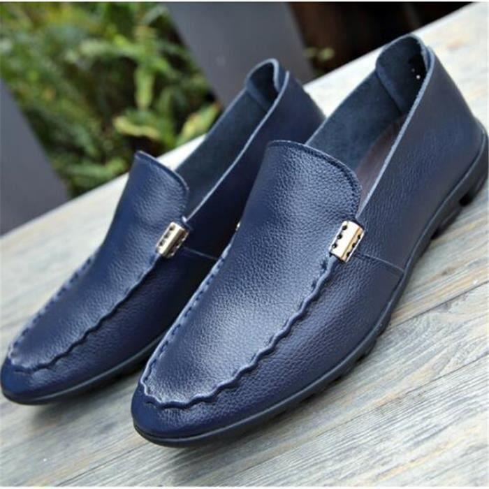 Mocassin Hommes Ete Comfortable Mode Detente Chaussures LKG-XZ75Bleu39 hBGz855VR