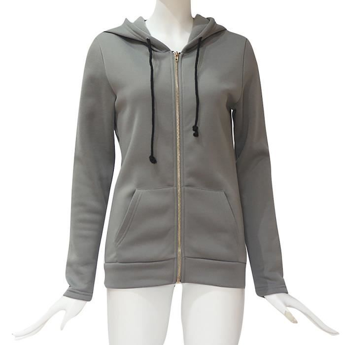 Femmes Sweat Pardessus Capuche Veste Zipper marine À Mode Femme Manches Outwear Longues Manteau fn6pwq
