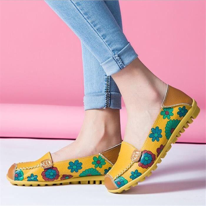 Mocassins femme Printemps Femmes Confortable Chaussures Véritable En Cuir D'impression Chaussures Mode Glissement Sur Appartements H8asXI1
