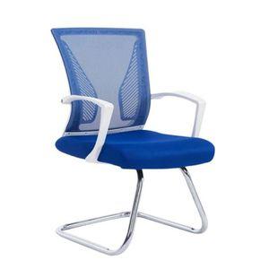 CHAISE DE BUREAU Fauteuil Chaise De Bureau Sans Roulette Bleu Tissu