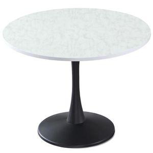 TABLE À MANGER SEULE Table ronde Necy Noir et Effet Marbre
