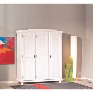 Armoire en bois massif 3 portes achat vente armoire en bois massif 3 port - Armoire pin massif blanc ...