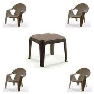 Salon Bebop marron glace : 4 fauteuils + 1 tabl… - Achat ...