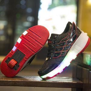 Enfants chaussures roulettes LED lighted USB chargable à roulettes clignotants wheely unisexes enfant sneakers avec roue 4gA0hF