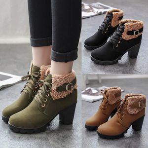 Bottes d'hiver pour femmes Chaussures à lacets en peluche Martin Bottes à plateforme à talons hauts Marine XKO755 ePdEbAnvE
