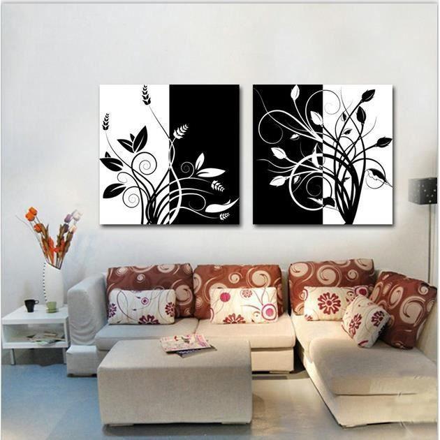 2 tableau noir et blanc fleur imprimer peinture sur le mur art toile photos pour salon sans. Black Bedroom Furniture Sets. Home Design Ideas