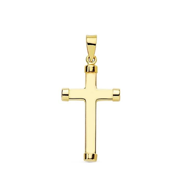 Croix pendentif 18k 24mm lisse. chatons post rectangulaires [AA7235]