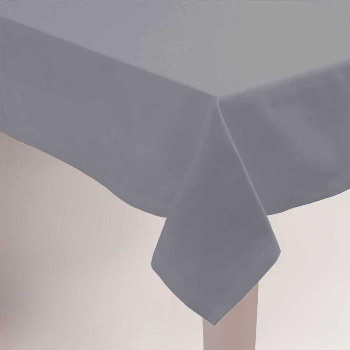 Nappe unie gris ovale 160x250cm anti tache - Achat / Vente nappe ...