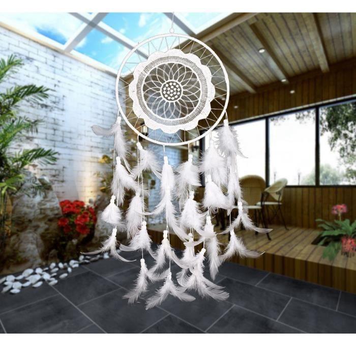 capteur de r ve attrape r ves avec plume blanche voiture. Black Bedroom Furniture Sets. Home Design Ideas
