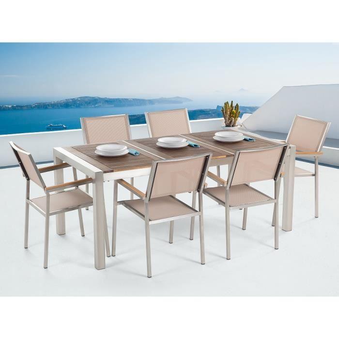 Table de jardin acier inox - plateau bois triple 180 cm avec 6 ...