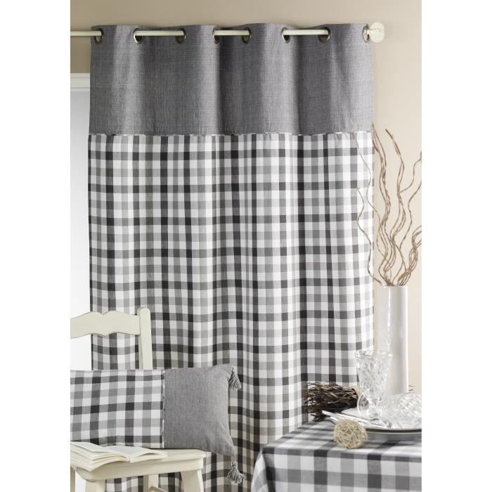 rideau ameublement motif 39 carreaux 39 gris 140x260cm achat vente rideau coton tissu cdiscount. Black Bedroom Furniture Sets. Home Design Ideas