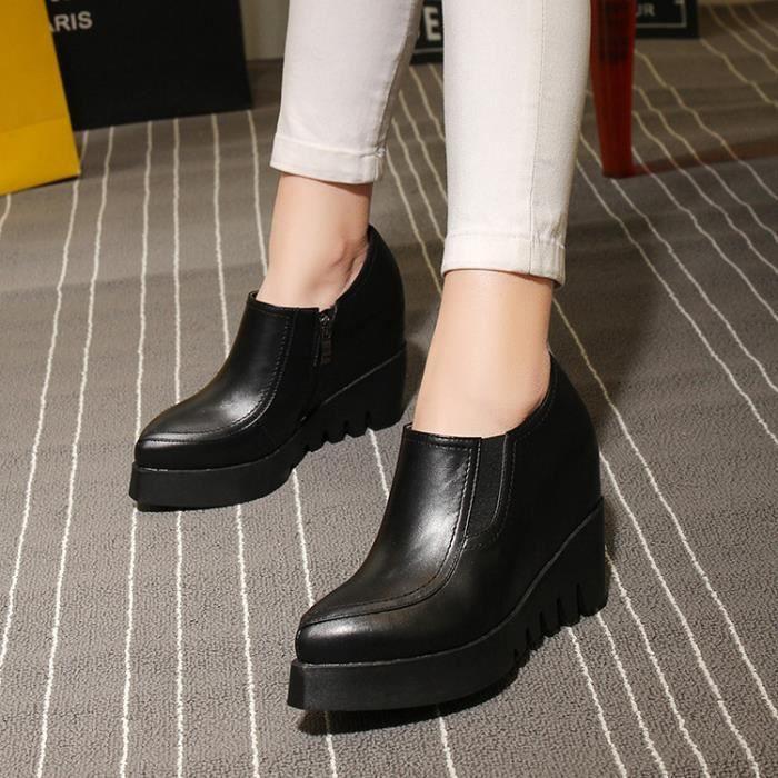 chaussures de skate-Pure Color Skate en cuir Ch...