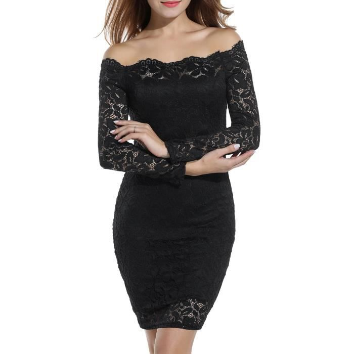 Acevog Womens Off Shoulder Lace Dress Long Sleeve Bodycon Dresses 2QEW22 Taille-38