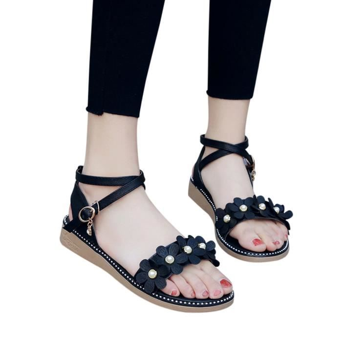 Buckle Non Sandals Straps Rome Noir Flat Flower slip Rhinestone Femmes Cross 1735 csx qxYCFY