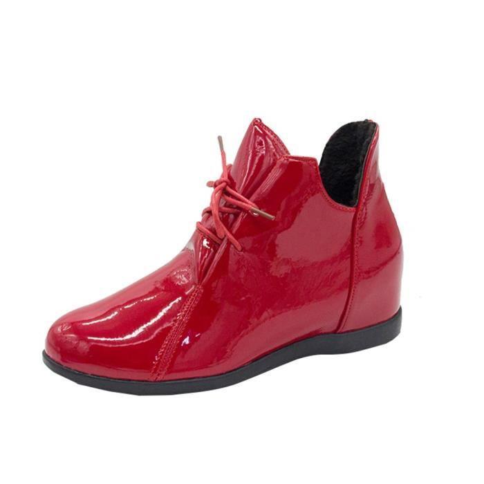 De plus Velvet Surélévation des femmes Bottes antidérapants Bottes Martin brevet Chaussures en cuir rouge