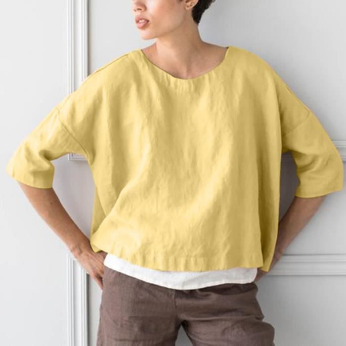Femmes T Du Cou Casual Moitié Manches Vrac shirt4475 O Coton D'été En Lin Chemisier Hauts PXOkuiZ