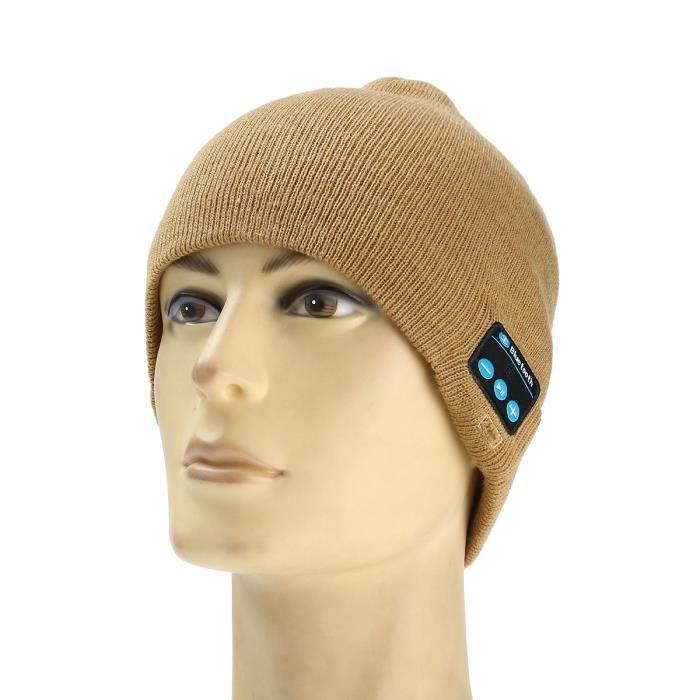 Neufu Chapeau Casque Sans Fil Stéréo Bluetooth Bonnet Appel Musique Kaki