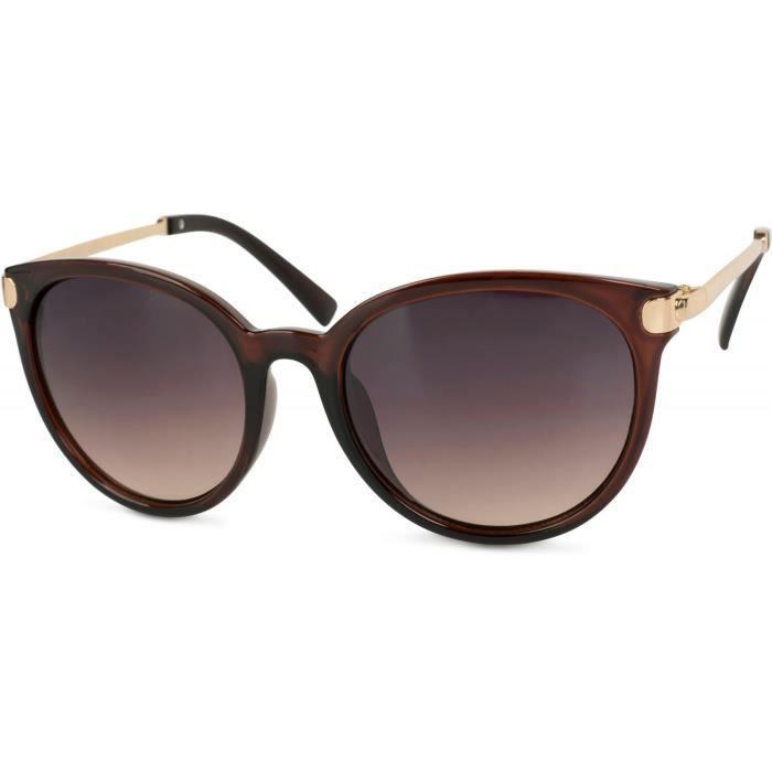 lunettes de soleil yeux de chat avec branches en métal, verres ronds, femme 09020073