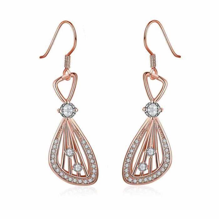Boucles d oreilles pendante Doré or rose 750 00 18K carats Bijou ... 528c66361c1d