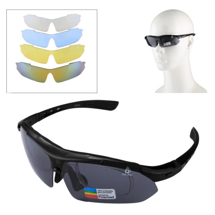 f4e5c4119b8da1 Lunettes soleil UV400 Sport Protection avec 4 x Extra UV400 Lens pour Tir    Cyclisme   Ski   Golf Noir