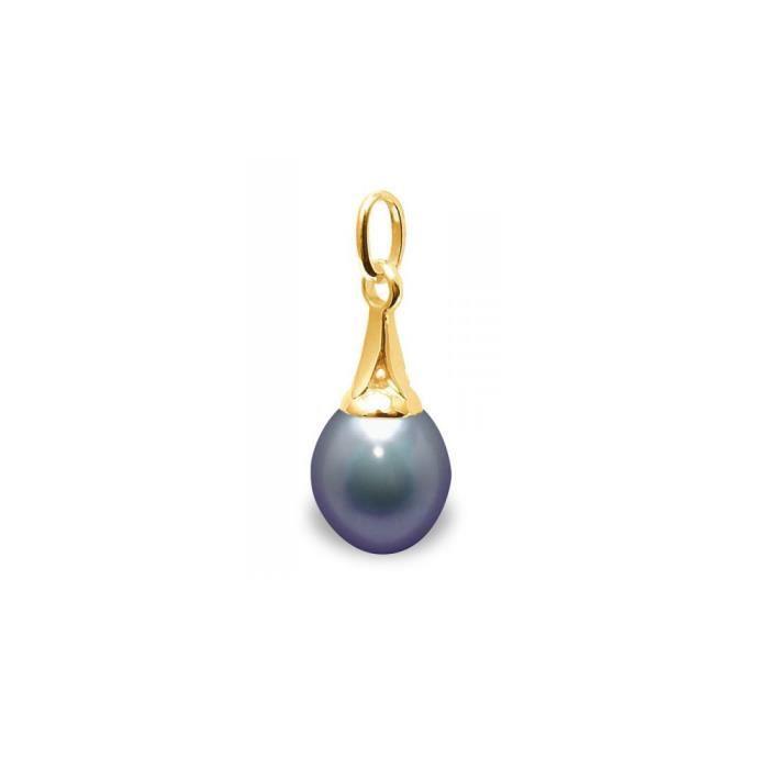 Pendentif Perle de Culture deau douce noire et Or Jaune 375/1000 - Blue Pearls