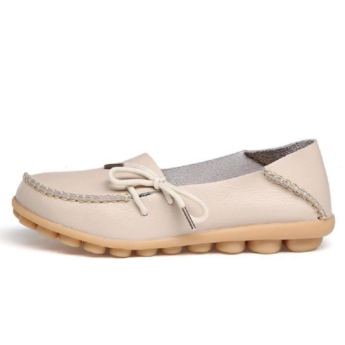 Comfortable Rubber Sole Leather Flats Slip On Loafer Shoes LNJ7K Taille-39 1-2