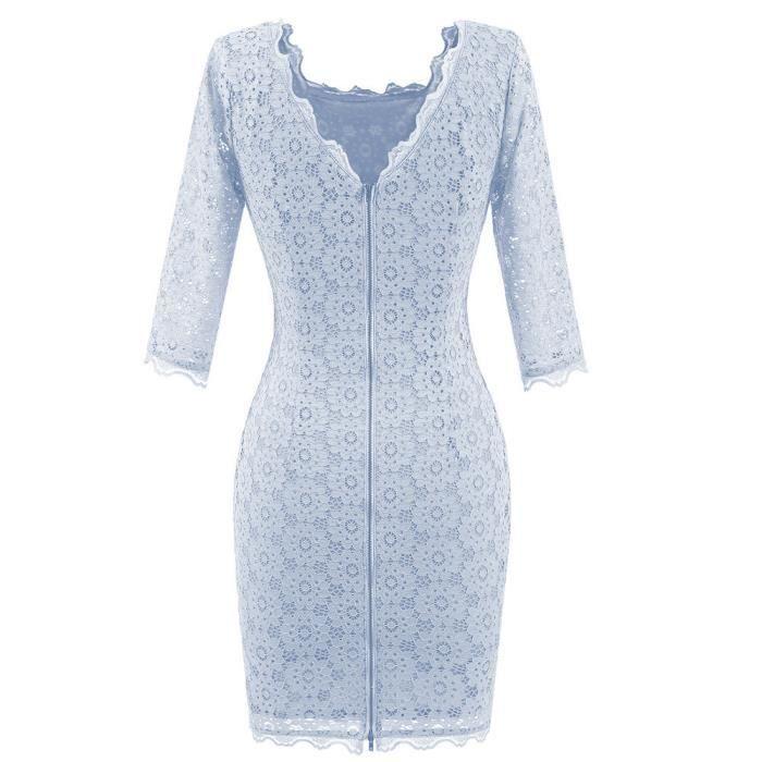 Womens dentelle Vintage O cou mariage Bodycon Cocktail Party robe décontractée@Bleu