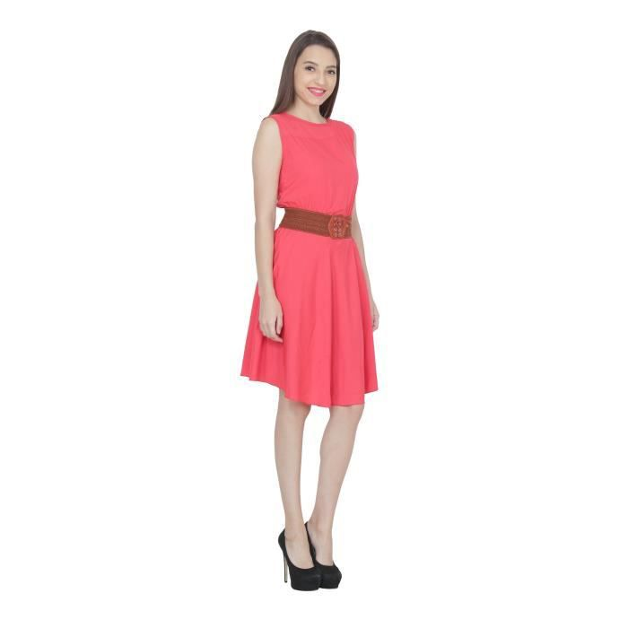 Womens Solid Crepe A-line Midi Dress H7ZRU Taille-36