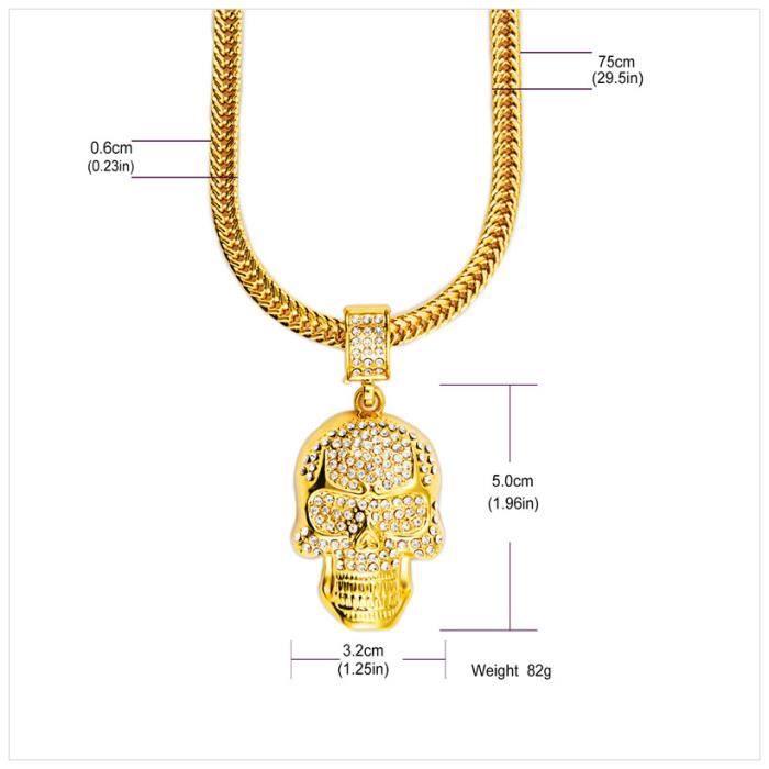 X-DRAGON® Bling Bling Skull Pendentif Hip Hop Bijoux 18K Plaqué Or Chaîne Collier