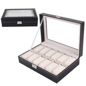 BOITE A MONTRE Grand montre vitrine boîte de bijoux en cuir 12 sl