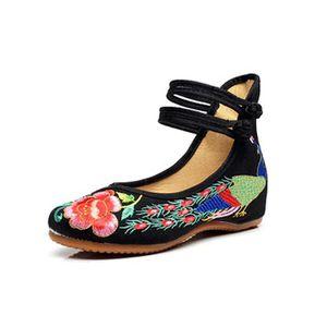 BALLERINE Minetom Femme Vintage Broderie Fleur Mary Jane Tal
