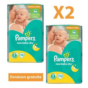 COUCHE 152 couches PAMPERS New Baby-Dry Taille 2 - 3 à 6