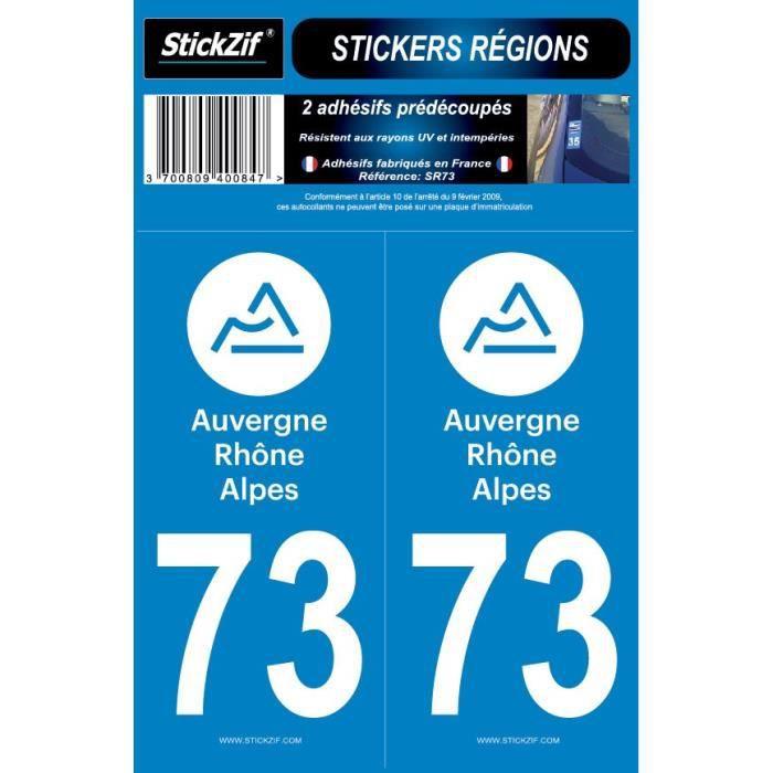 STICKZIF 2 Autocollants Région Département 73 SR73