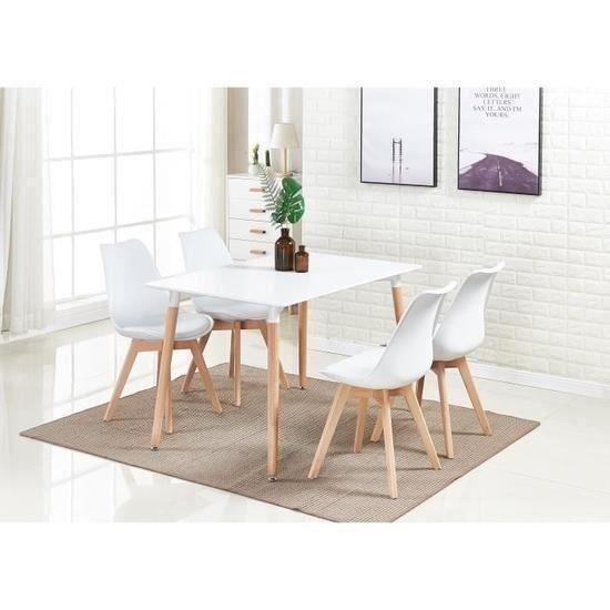 Haute Qualite Ensemble Table De Salle A Manger Complet Table Blanche 4 Chaises Blanches Design Scandinave Cuisine Ou Salon