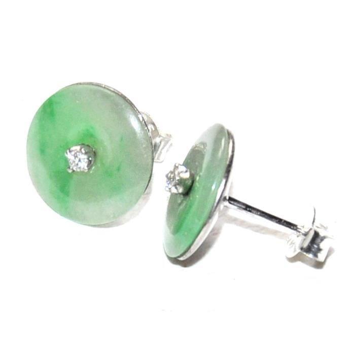 Boucles doreilles argent massif 925 jade vert et zirconium bijou