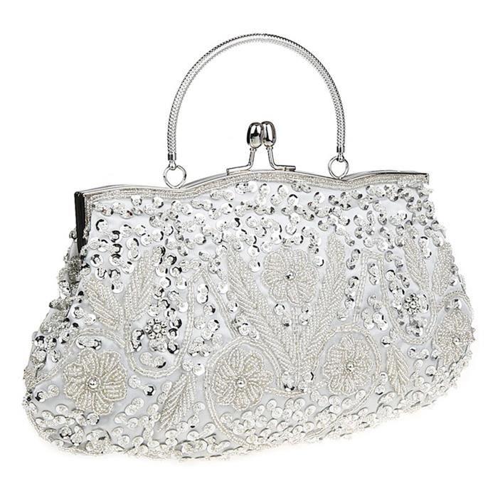 Satin sac à main sac de soirée de mariage de perles Paillettes dembrayage pour Party X1ZJA