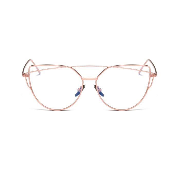 An-1350 Mode double Poutres Classique Femmes Metal Frame Mirror Lunettes de soleil chat Lunettes rose