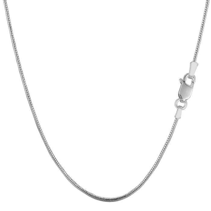 Chaîne- Argent sterling Rhodium plaqué rond SnakeNecklace, 1,1 mm, 18