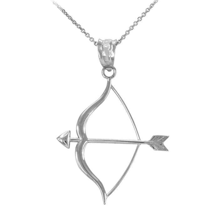 Collier Femme Pendentif 925 Argent Fin Arc et Flèche (Livré avec une 45cm Chaîne)