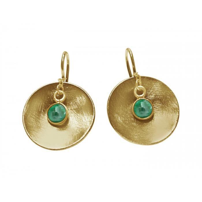 Gemshine - Dames - Boucles doreilles - Boucles doreilles - 925 Argent - Or - coquille - géométriques - Design - Emeraude - Vert -