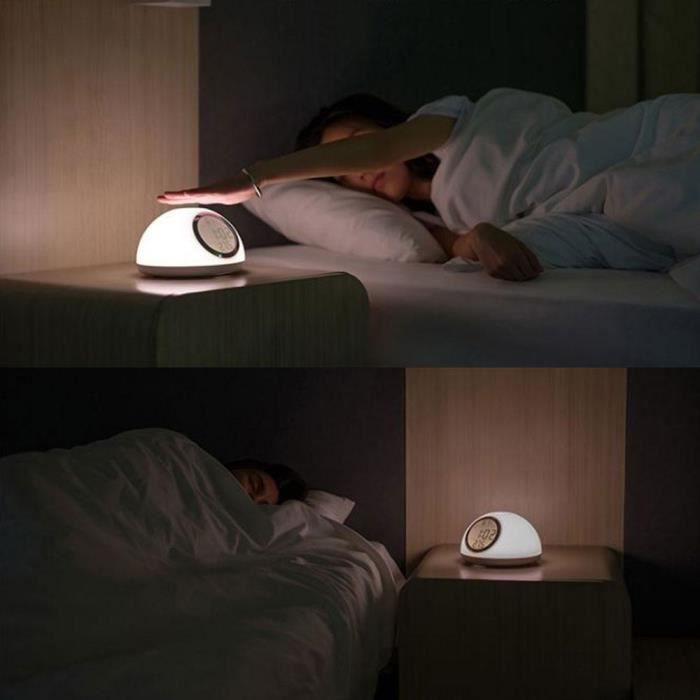 Leegoal Lumière De Réveil,réveil Simulation D'aube, Détection Manuelle Interrupteur Tactile, Blanc