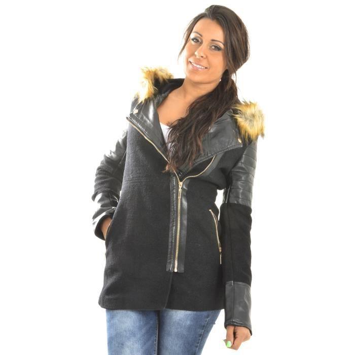 manteau asym trique fourrure achat vente manteau. Black Bedroom Furniture Sets. Home Design Ideas