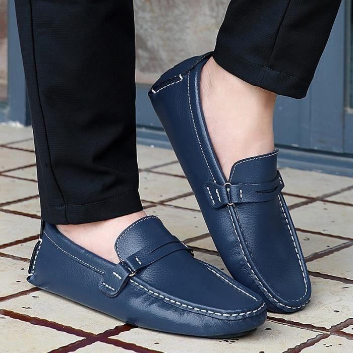 Chaussures pour hommes en cuir véritable Chaussures plates confortables mocassins respirante hommes Flats Plus Size 38-48,noir,12.5