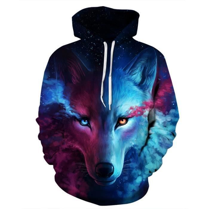 Imprimé Hommefemme Sweatshirt Loup Punk Étoile Marque Luxe 3d 07Hw4qn8