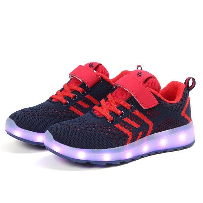 Chaussures enfants lumières LED Baskets fille garçon Clignotant lumineux chaussures de sport 7 couleurs taille 25-37