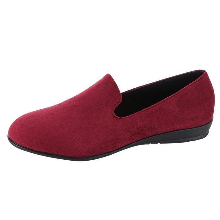 Loisirs on Plates Slip En Toe Bateau Round Chaussures Pois Femmes Modehall Simples 1921 Daim rcqHrg