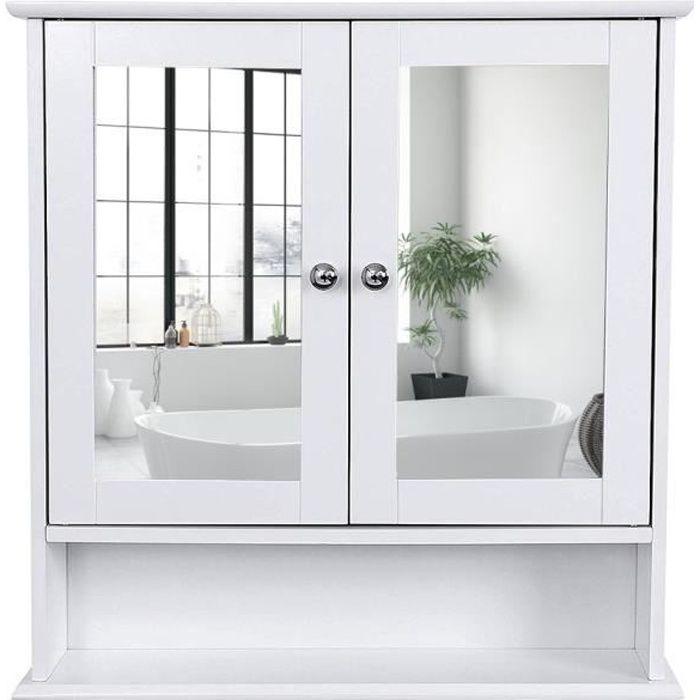 Meuble Salle De Bain Armoire De Toilettes Murale Salle De Bains Blanc Avec Portes Et Miroirs